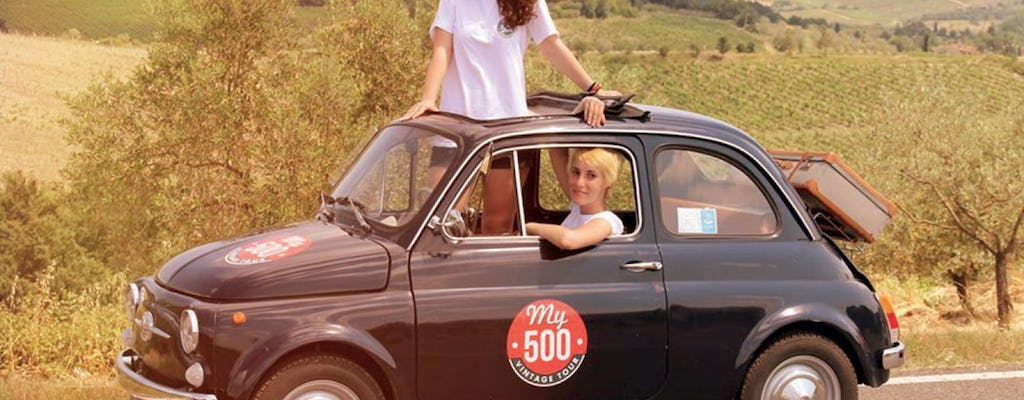 Vintage tour on a Fiat 500 in the Chianti area with lunch and visit to a winery