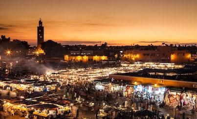 Ver la ciudad,Gastronomía,Noche,Tours nocturnos,Tours nocturnos,Visitas guiadas por Marrakech,Con cena