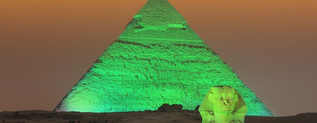Cairo pyramids light and sound night show with Nile dinner cruise