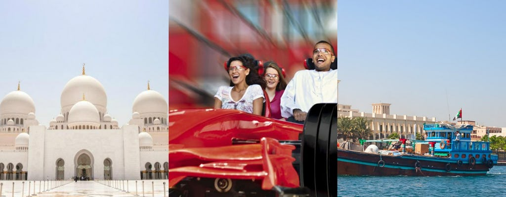 Abu Dhabi and Ferrari World day trip from Dubai and dhow boat dinner cruise