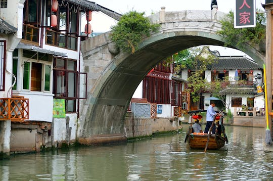 Group tour of Zhujiajiao water town and Huangpu river night cruise