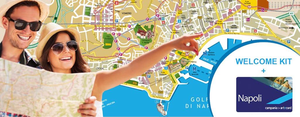Tarjeta turística de transporte y arte y paquete de bienvenida en Nápoles