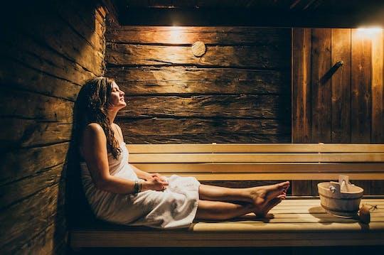 Sauna z arktycznym lasem i jacuzzi z północnymi światłami