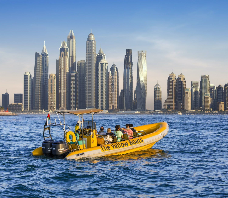 99-minutowy rejs z przewodnikiem wzdłuż Dubai Marina, Wysp Palmowych, hotelu Atlantis i Burdż al-Arab