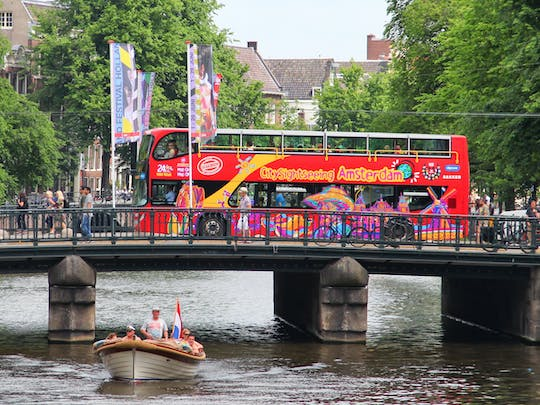 Amsterdam hop-on-hop-off bus and boat tour for 24 or 48 hours