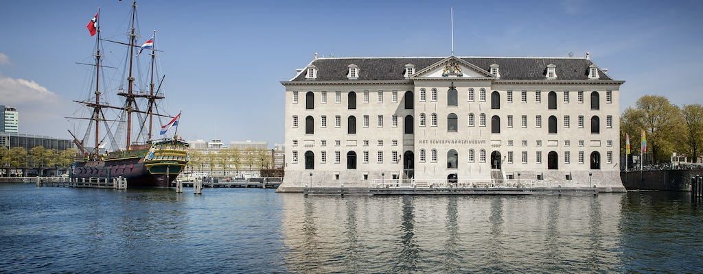 National Maritime Museum entrance and Amsterdam canal cruise
