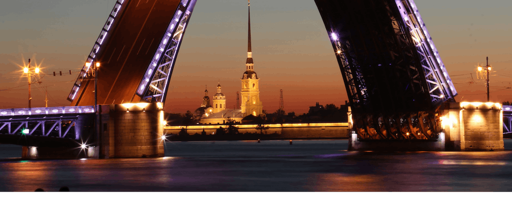 St Petersburg bridges opening cruise at night