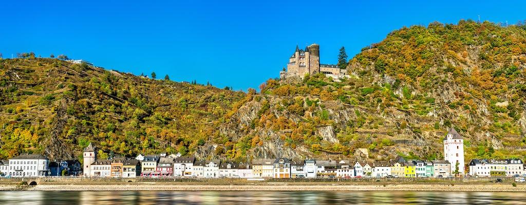 Excursión de todo el día al valle del Rin y excursión en autobús por la ciudad de Frankfurt con paseo en barco, degustación de vinos y almuerzo