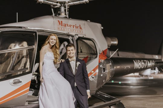 Las Vegas city lights helicopter wedding package