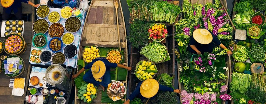 Schwimmender Markt und Brücke auf der River Kwai-Kombitour