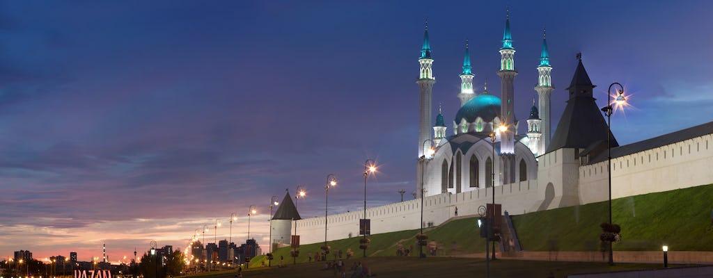 Passeio a pé à noite em Kazan