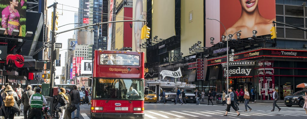 Hop-on hop-off bus tour of uptown and downtown New York with tickets to local attractions