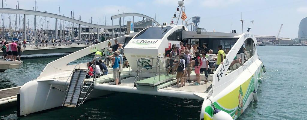 Viaje en catamarán ecológico del horizonte de Barcelona