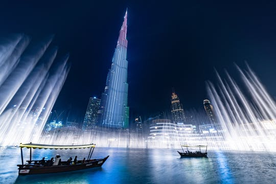 Dubai fountain show and lake ride by traditional boat