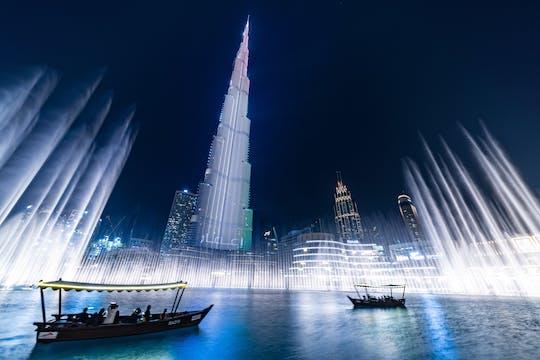 Spettacolo delle fontane danzanti di Dubai con tour del lago in barca tradizionale