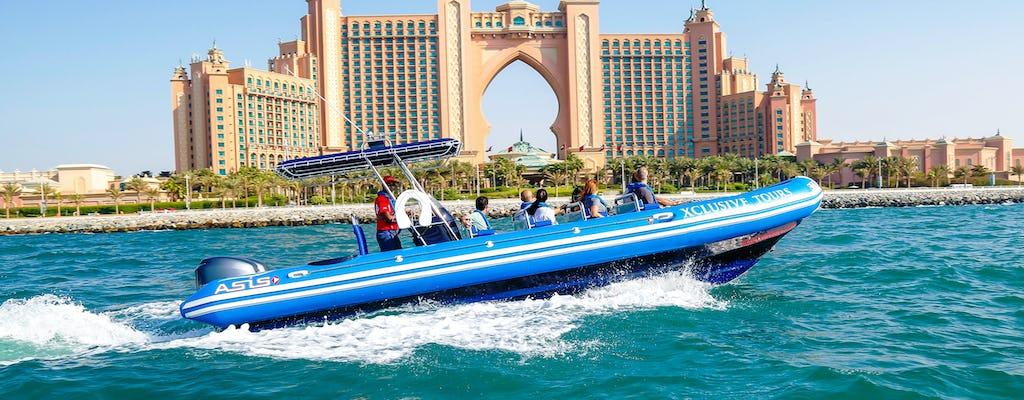Rejs łodzią motorową z widokiem na Dubai Marina, hotel Atlantis i Burdż al-Arab
