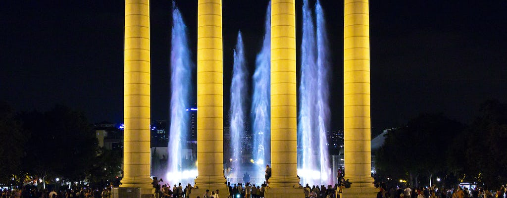 Barcelona fountains and football stadium