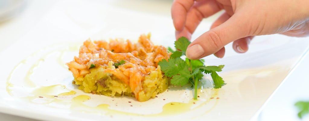 Recetas portuguesas y cena en la casa de un chef