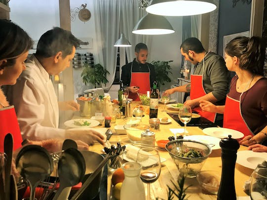Mediterranean cooking class, tapas sampling and dinner in a private lounge