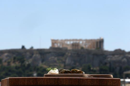 Aula de culinária mezze grega e almoço com vista para a Acrópole
