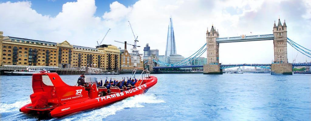Nadzwyczajny rejs łodzią motorową Thames Rockets w Londynie