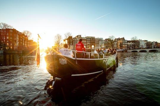 Amsterdam premium rejs po kanale na otwartej łodzi ze wszystkimi napojami w cenie