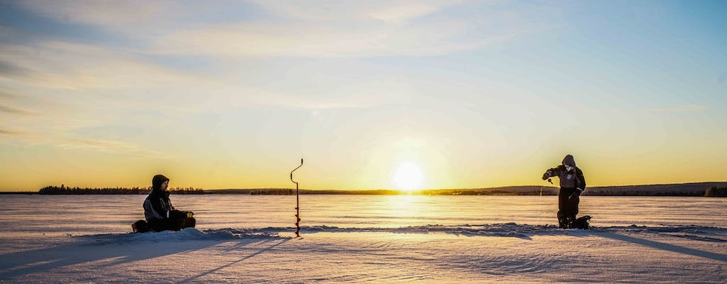 Go ice fishing on a frozen lake