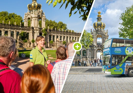 Dresden Old Town walking tour and hop-on hop-off bus tour