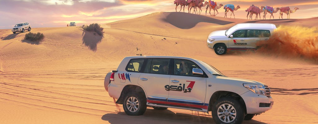 Half-day desert safari, 30-minute quad ride, camel ride and BBQ dinner