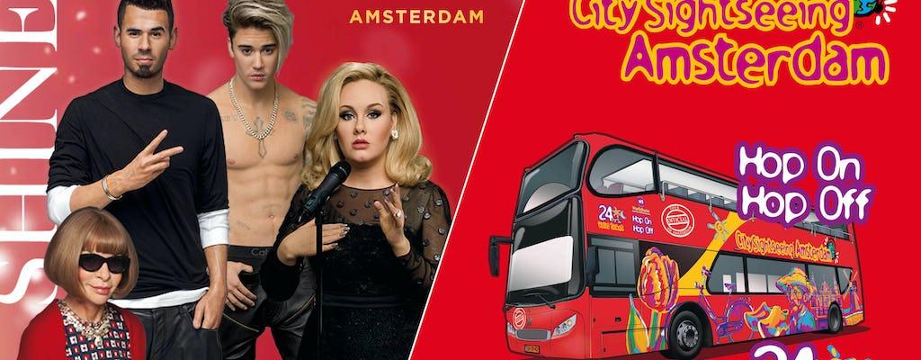 Billet prioritaire pour Madame Tussauds et bus à arrêts multiples 24 heures à Amsterdam