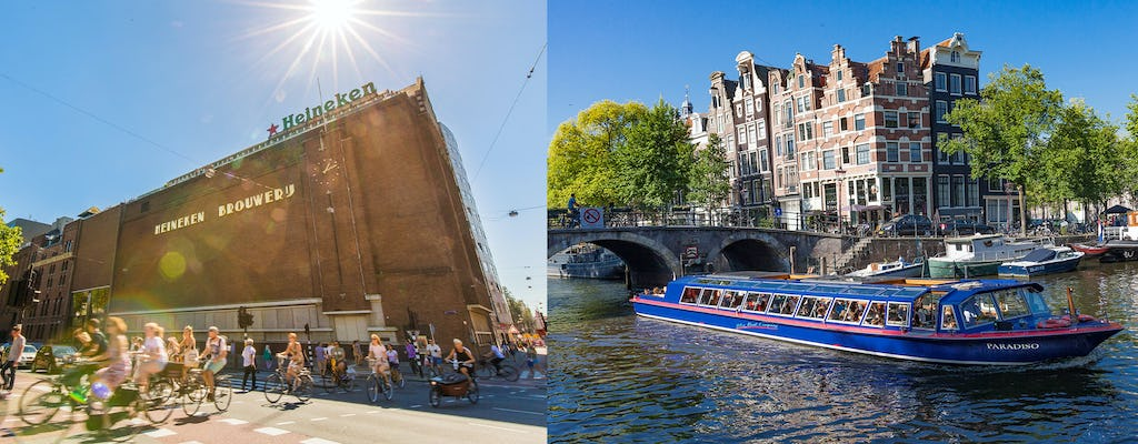 Amsterdam city canal cruise with snackbox and Heineken Experience ticket