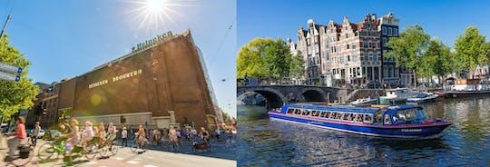 Cruzeiro pelos canais da cidade de Amsterdã com lanchonete e bilhete para a Heineken Experience