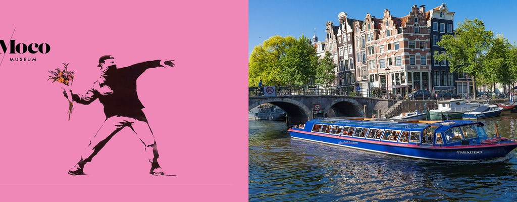 City canal cruise of Amsterdam with snackbox and MOCO Museum ticket