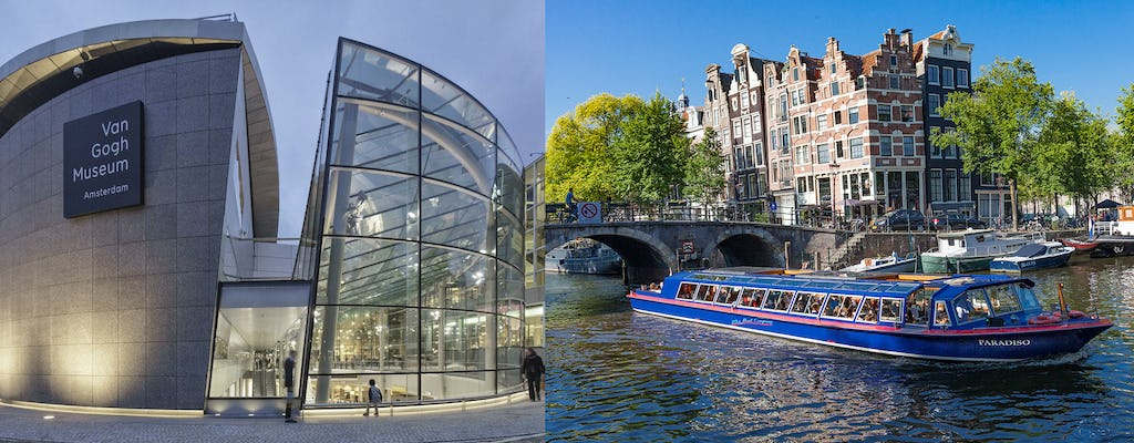 City canal cruise of Amsterdam with snackbox and  Van Gogh Museum
