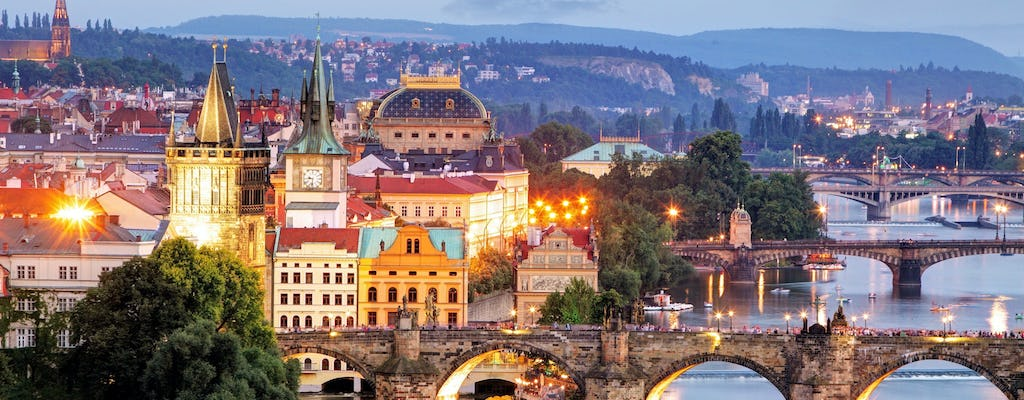Panoramic views of Prague evening walking tour