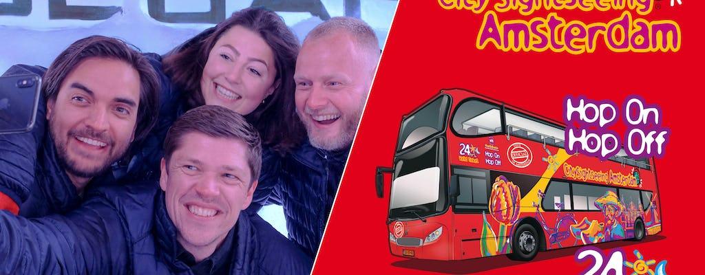 Wstęp do Amsterdam XtraCold Icebar i 24-godzinny bilet na autobus Hop-On Hop-Off