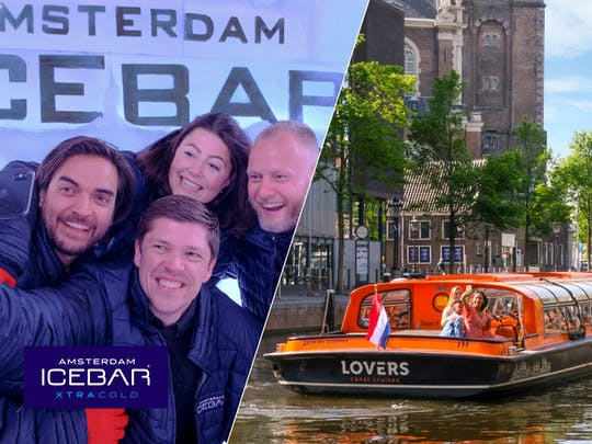 Amsterdam XtraCold Icebar entrance ticket and 1-hour canal cruise