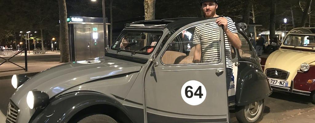 Excursão particular de 1h30 por Bordeaux à noite em um carro antigo de 2 CV