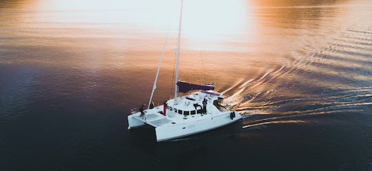Private midnight sun sailing on comfortable catamaran
