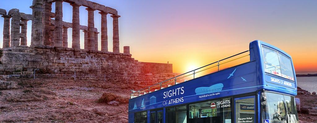 Ônibus combinado hop-on hop-off de Atenas e excursão ao pôr do sol em Cape Sounion
