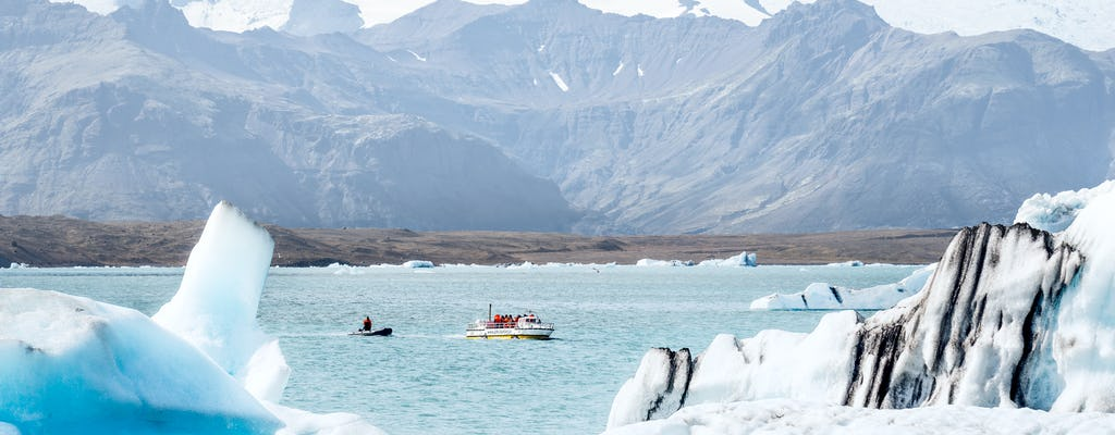 Excursão a Jökulsárlón pela Lagoa Glaciar com passeio de barco
