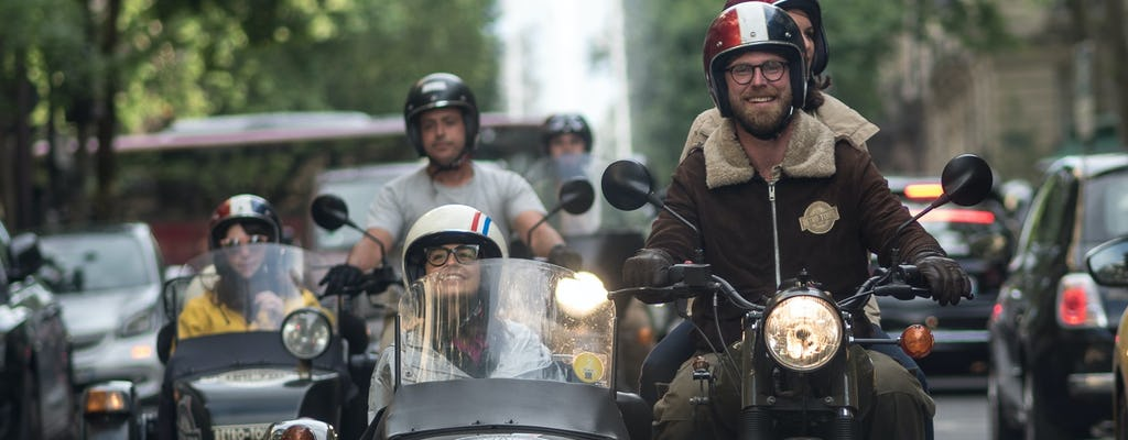 Paris romantic night tour on a sidecar with champagne