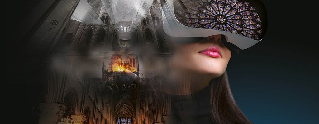 Flyview virtual reality experience inside Notre-Dame, before and after the fire