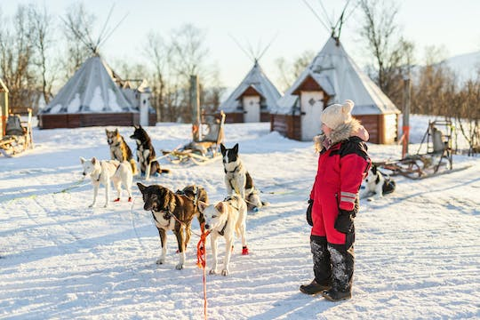 Family day with snowmobiles, arctic animals and Santa Village