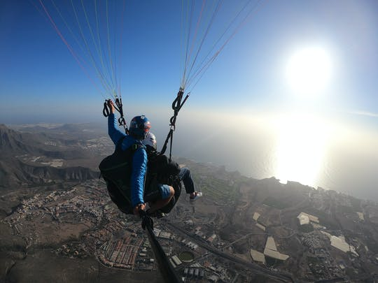 Tandem paragliding flight over Costa Adeje