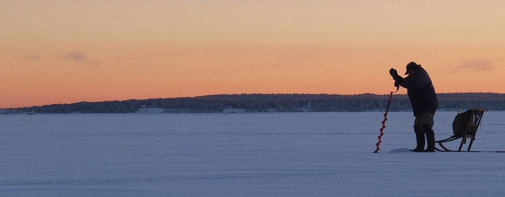 Guided ice fishing experience in Luleå