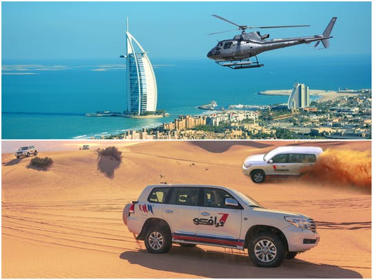 17-minute Helicopter flight and desert safari combo tour