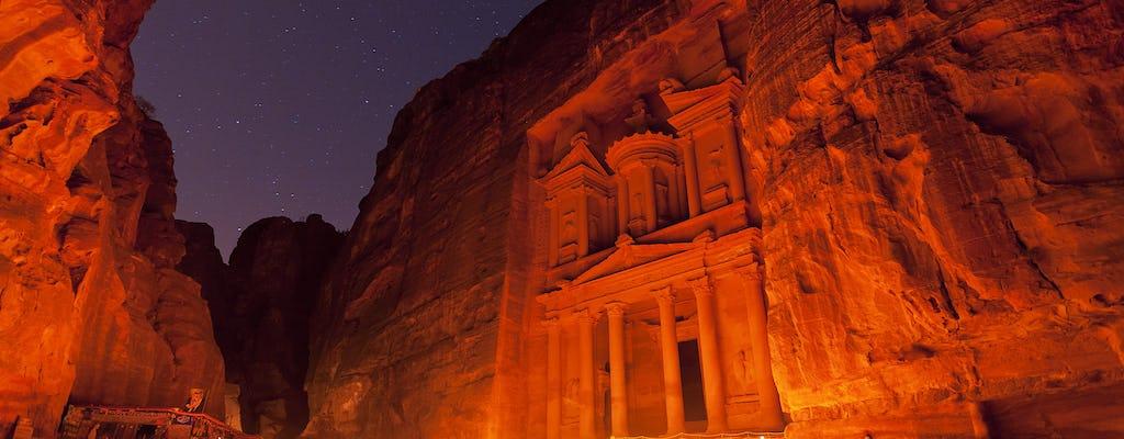 Tour privado de Petra y Petra por la noche desde Wadi Rum