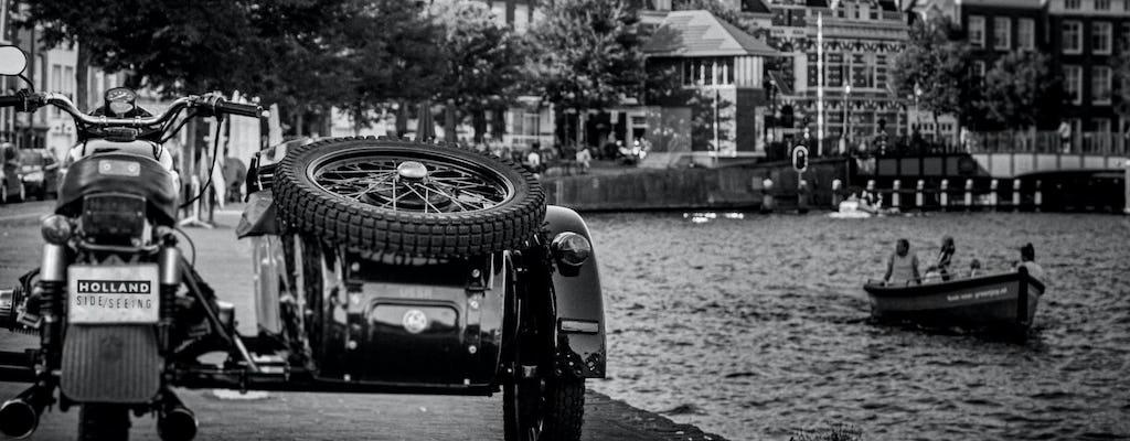 Passeio de motocicleta sidecar vintage pelo interior de Amsterdã