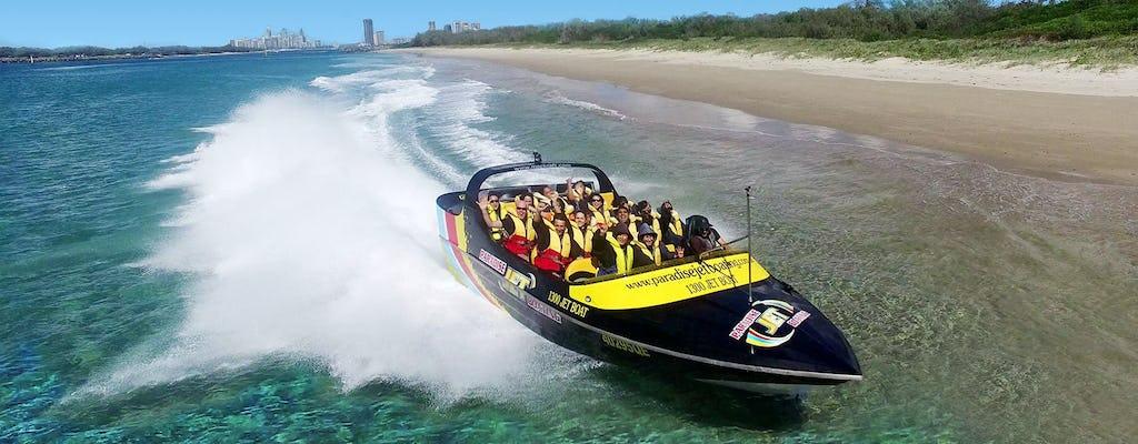 Promenade en jetboat express sur la Gold Coast avec de la bière sur le pont
